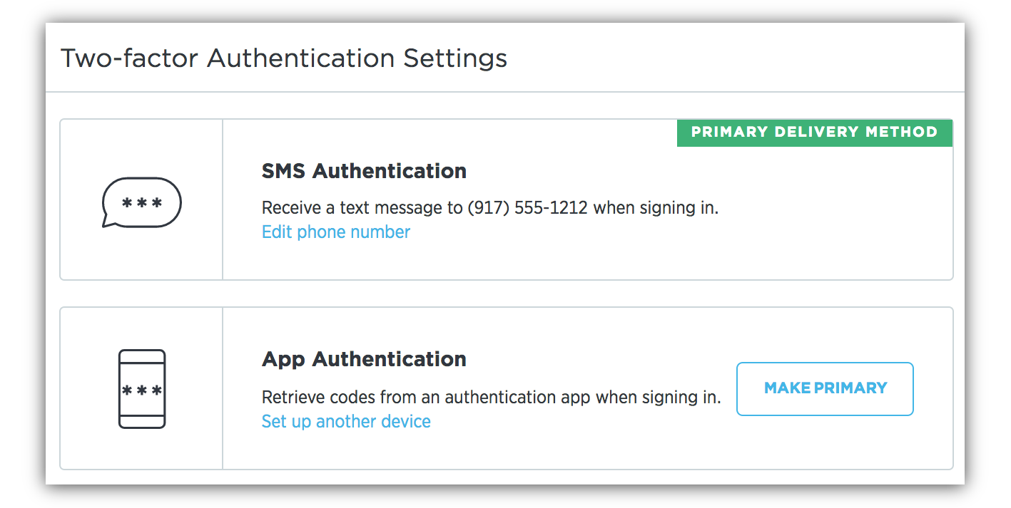 Avanan recomnedation 2 Factor Authentication