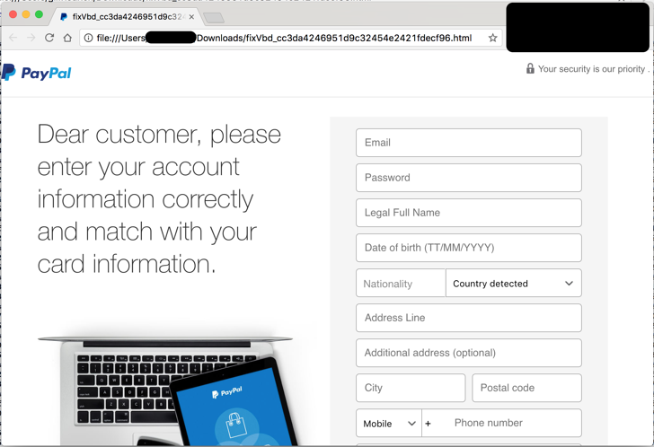 Fake PayPal website displaying forged PayPal login
