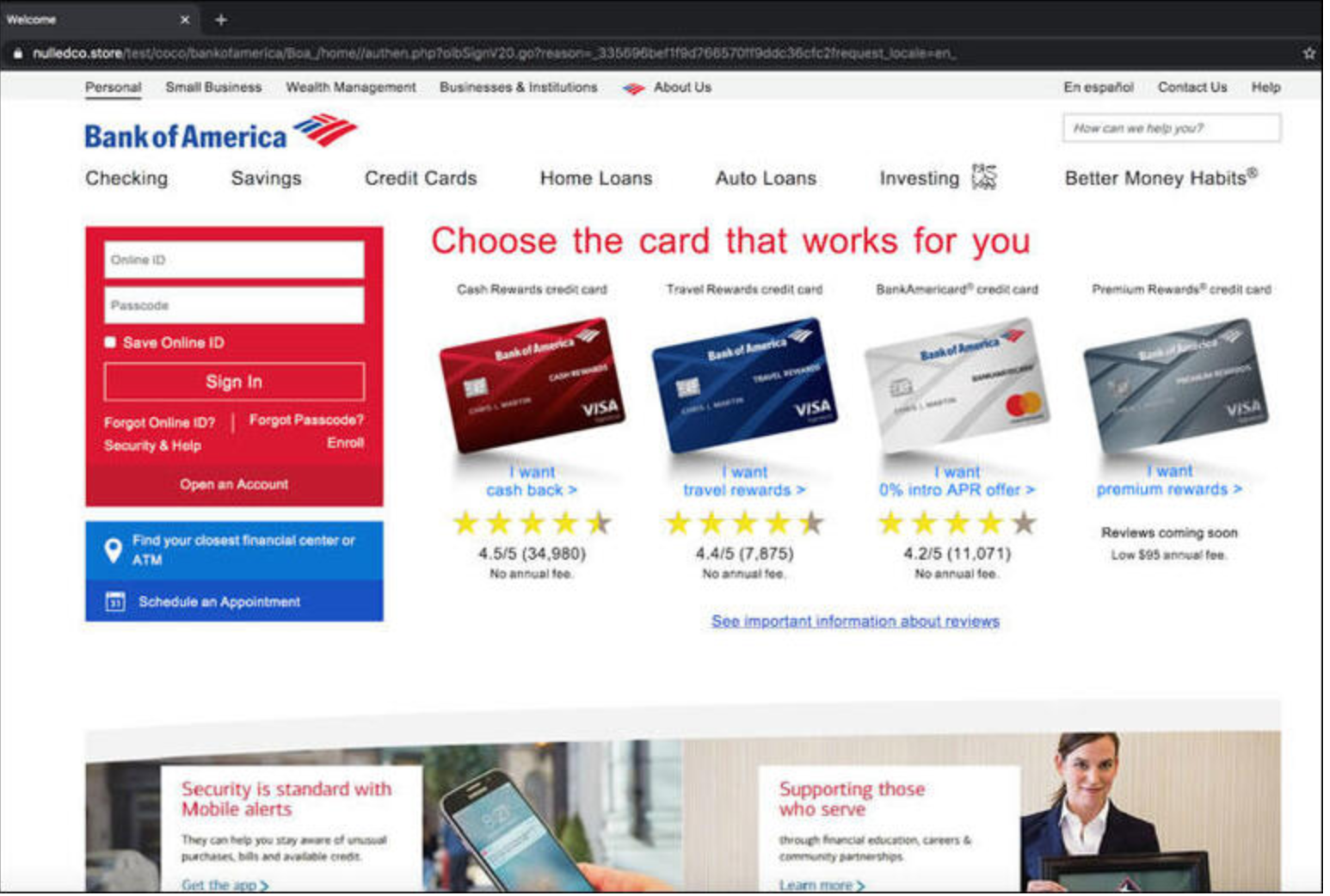 Bank of America Spoofed Page
