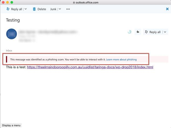office 365 email security message