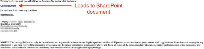 sharepoint scam including a sharepoint link on the page