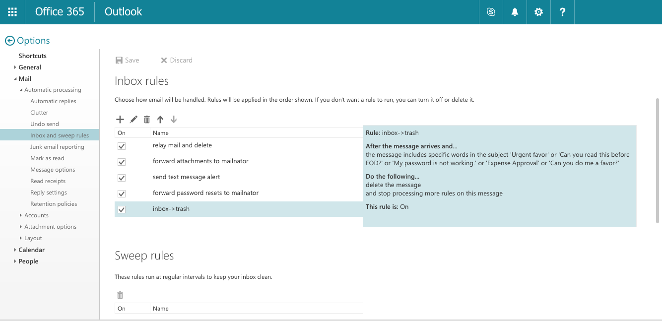 Outlook Inbox Rule Trash