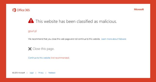Microsoft ATP Safe Links Warning