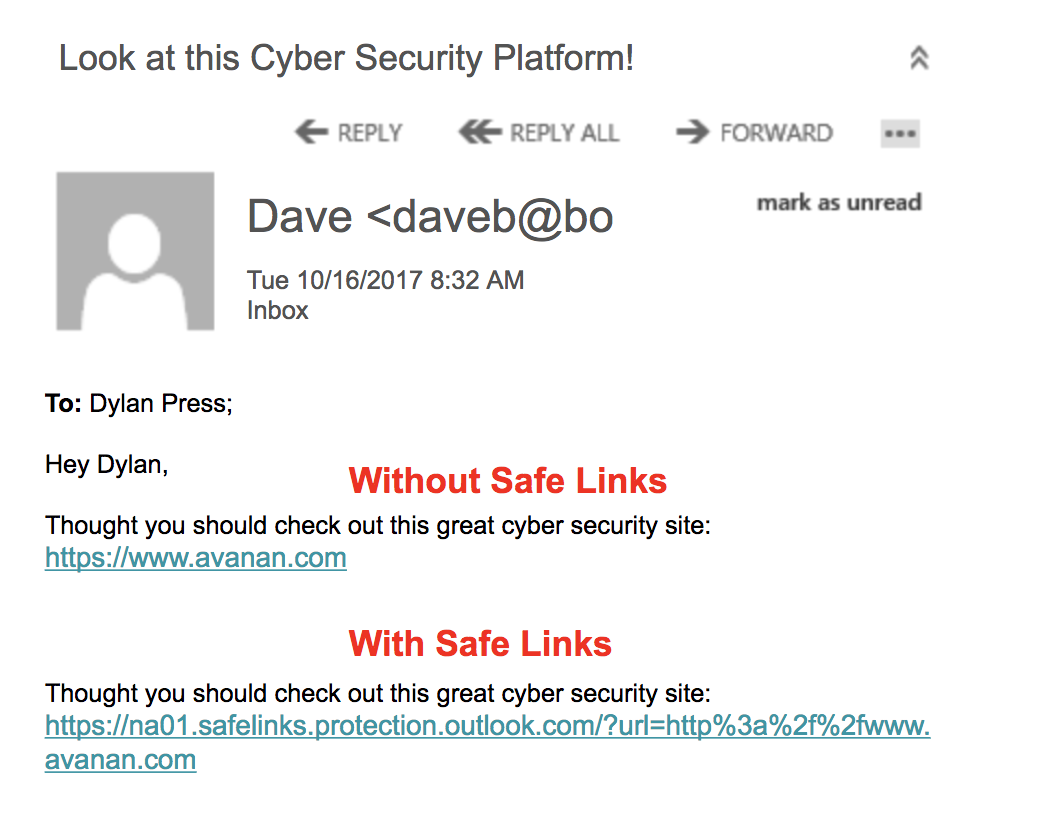 Microsoft ATP Safe Links Example