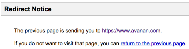 Google URL redirect message