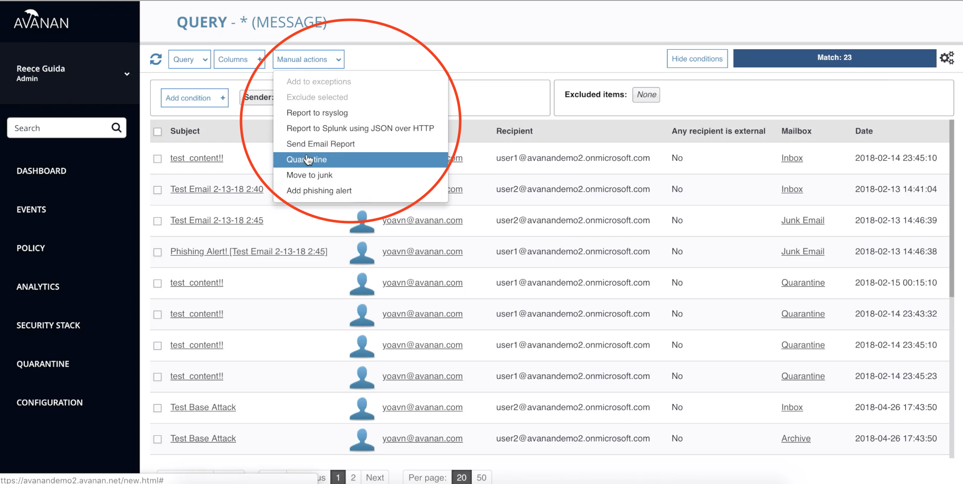 quarantine emails in Office 365 from a compromised account